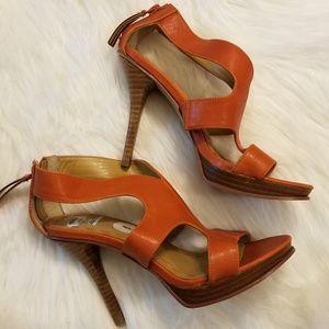 Nine West Orange Rust Platform Heels Sz 6